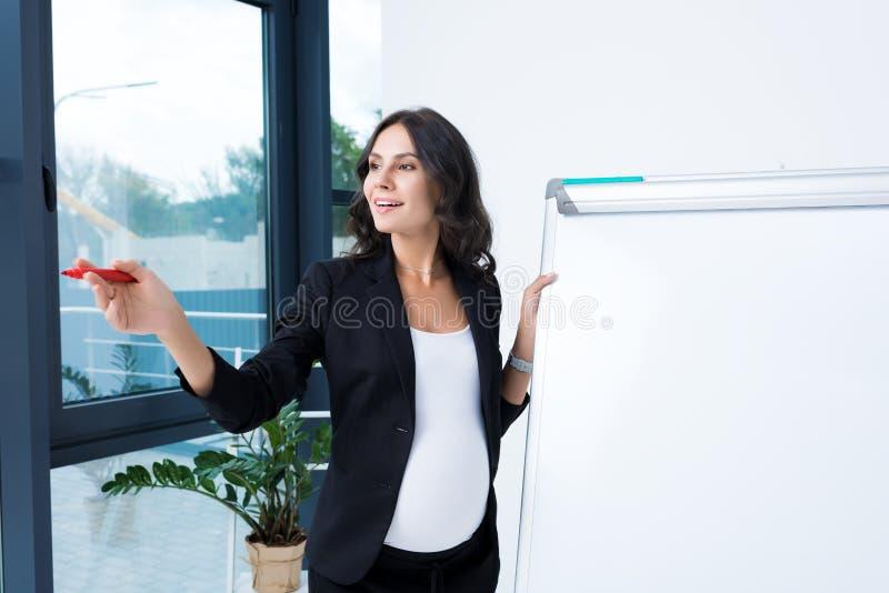 szczęśliwy ciężarny bizneswoman z pustym whiteboard i czerwienią fotografia stock