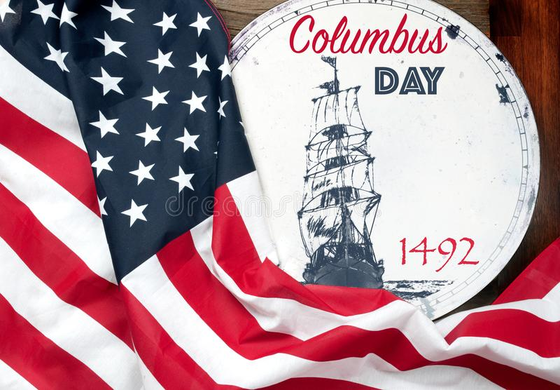 Szczęśliwy Columbus dzień united państwa bandery obraz stock