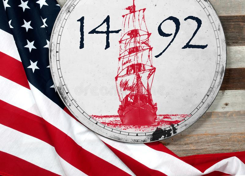 Szczęśliwy Columbus dzień united państwa bandery fotografia stock