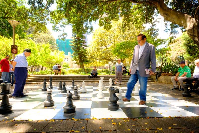 szczęśliwy czas Starzy człowiecy bawić się gigantycznego szachy wpólnie dalej obraz royalty free