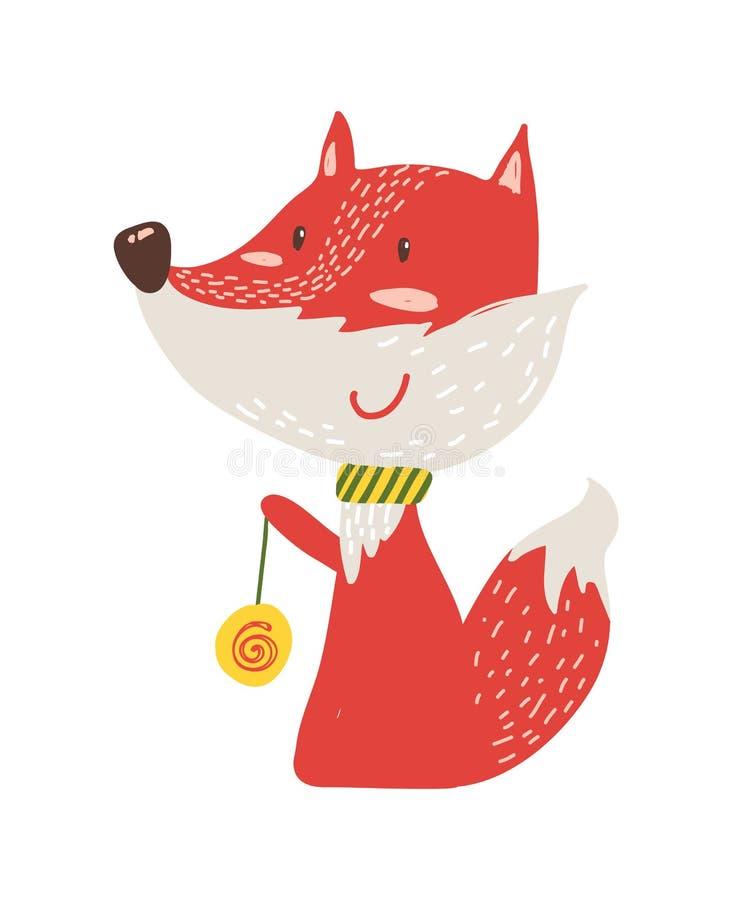 Szczęśliwy Czerwony Fox z jo-jo ikony wektoru ilustracją ilustracja wektor