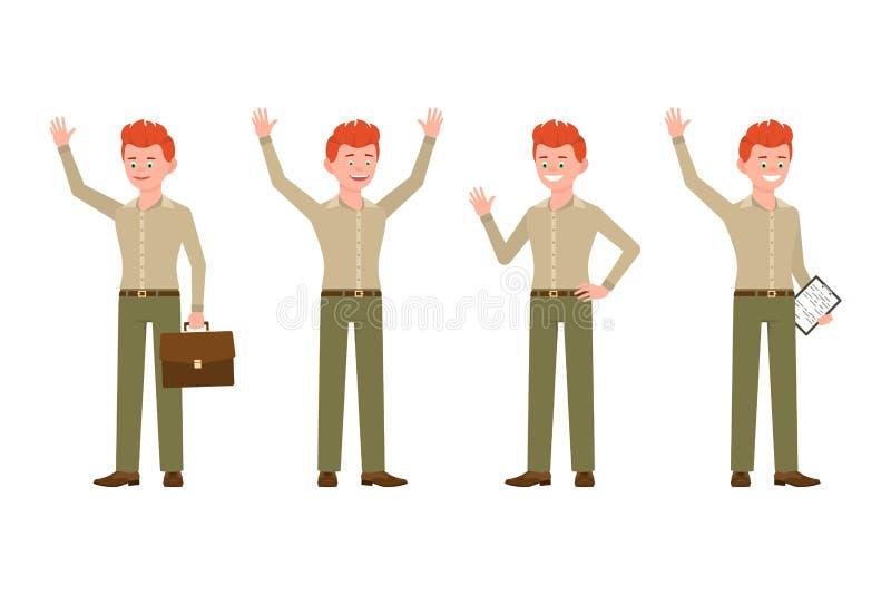 Szczęśliwy czerwony włosiany biurowy mężczyzna w zieleni, ono uśmiecha się, dyszy wektorową ilustrację Machać, mówić cześć, ręki  royalty ilustracja