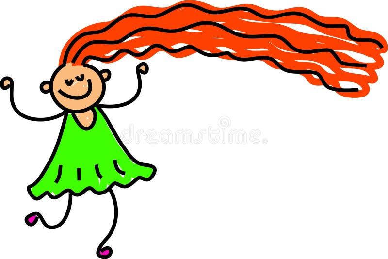 szczęśliwy długie włosy, ilustracji