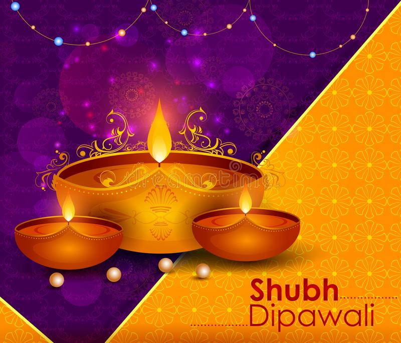 Szczęśliwy Diwali światła festiwal India powitania tło royalty ilustracja