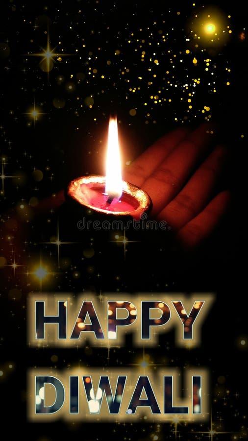 Szczęśliwy Diwali, deepawali lampa dla świętowania w India lub diyas lub zdjęcie stock