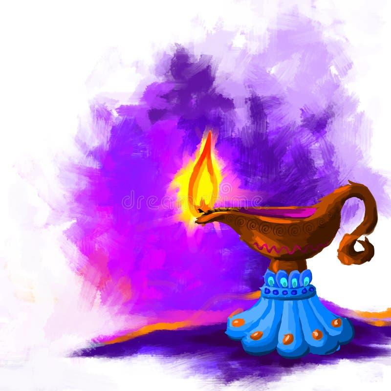 Szczęśliwy Diwali Diya royalty ilustracja