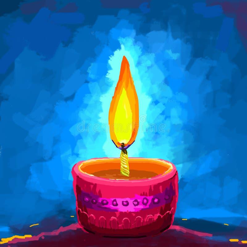 Szczęśliwy Diwali Diya ilustracja wektor