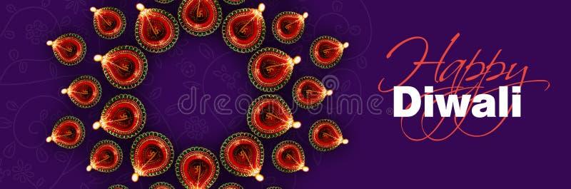 Szczęśliwy diwali kartka z pozdrowieniami seans iluminował diwali diya lub lampę obraz royalty free