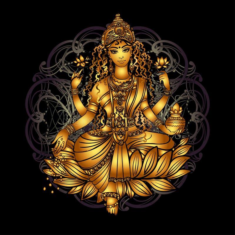 Szczęśliwy Diwali Lakshmi ilustracja wektor