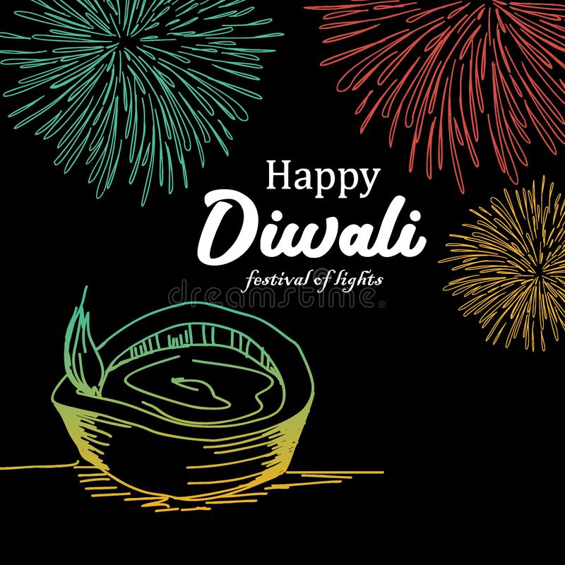Szczęśliwy Diwali powitania projekt z płonącym diya i fajerwerkami Kolorowy festiwal świateł rocznika tło z ręka rysującym stylem royalty ilustracja