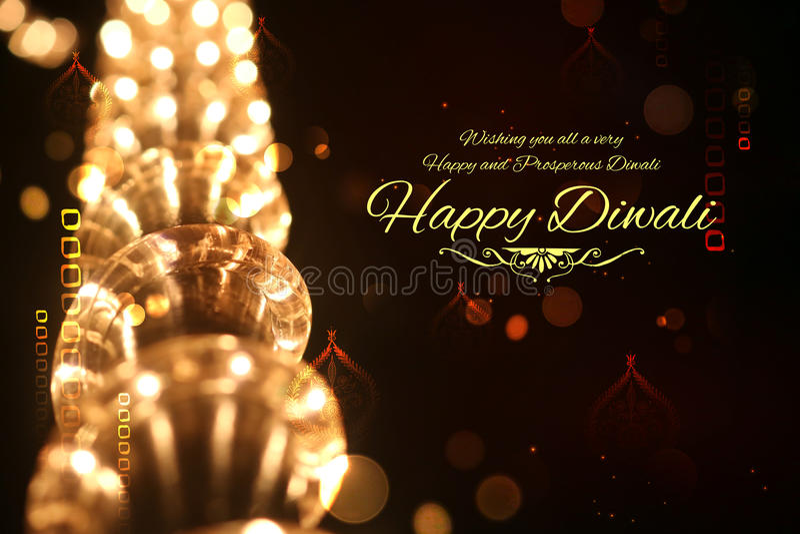 Szczęśliwy Diwali tło dekorujący z światłem zdjęcia stock