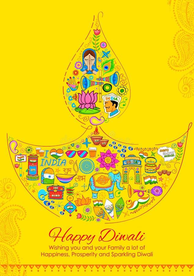 Szczęśliwy Diwali tło z India odnosić sie rzeczy w diya kształcie royalty ilustracja