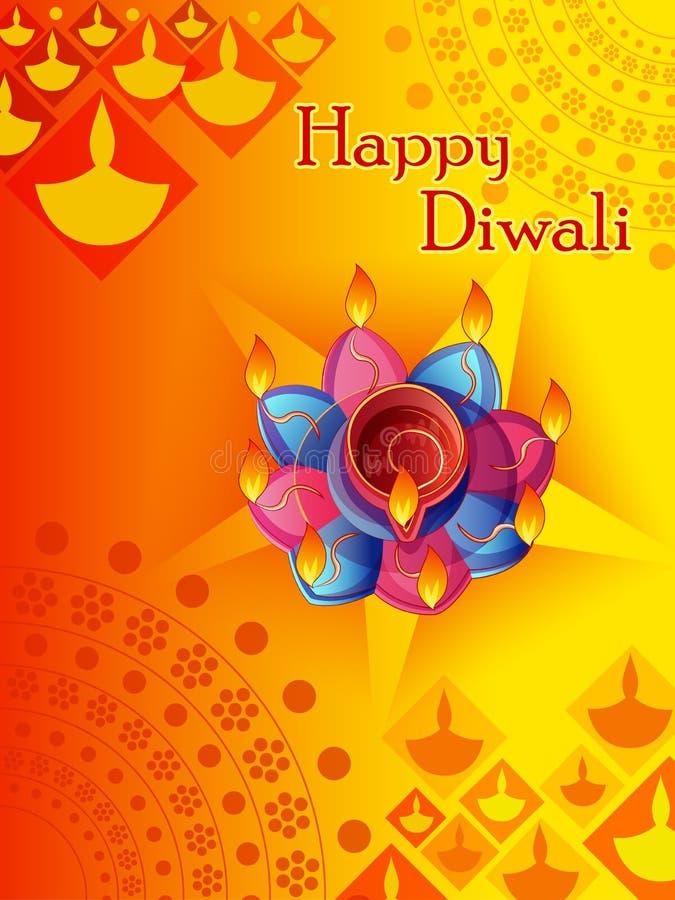 Szczęśliwy Diwali tradycyjny festiwal India powitania tło z kolorowym diya ilustracja wektor