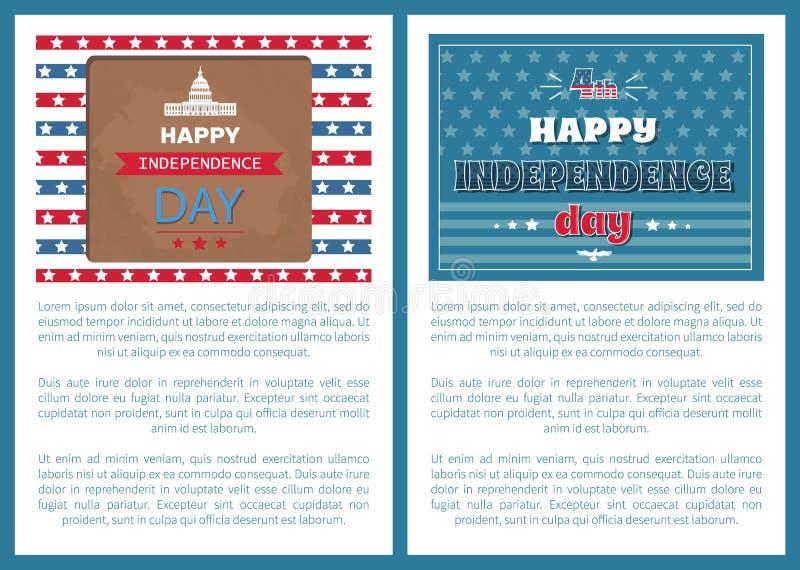 Szczęśliwy dni niepodległości plakatów Waszyngton Capitol ilustracji