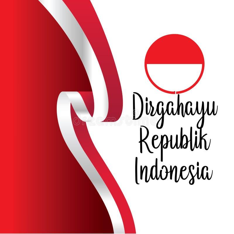 Szczęśliwy dnia niepodległości indonezyjczyka przekład Chorągwiany sztandar indonezyjski szczęśliwy dzień niepodległości ()- Wekt royalty ilustracja