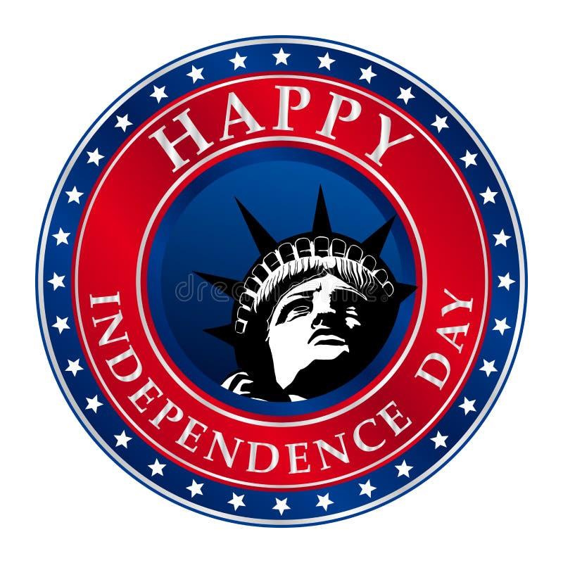 Szczęśliwy dnia niepodległości logo w okręgu kształcie z gwiazdami i twarzy statua wolności w centrum ilustracji