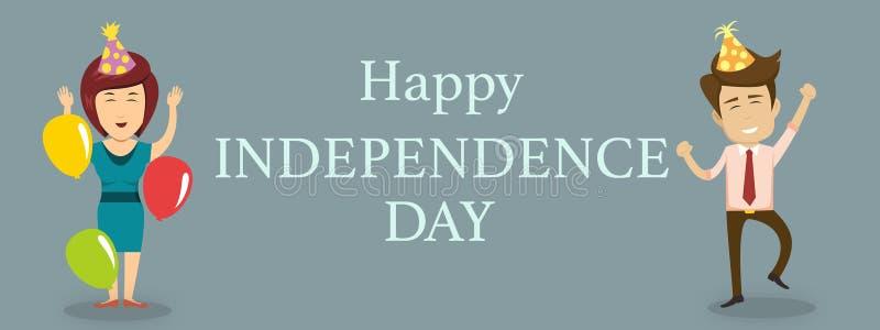 Szczęśliwy dnia niepodległości tło z mężczyzną i kobietami ilustracji