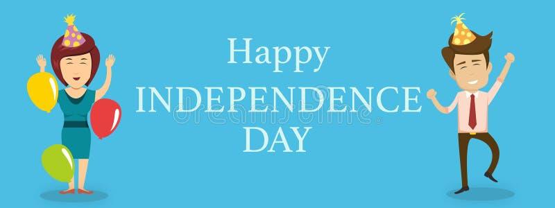 Szczęśliwy dnia niepodległości tło z mężczyzną i kobietami royalty ilustracja
