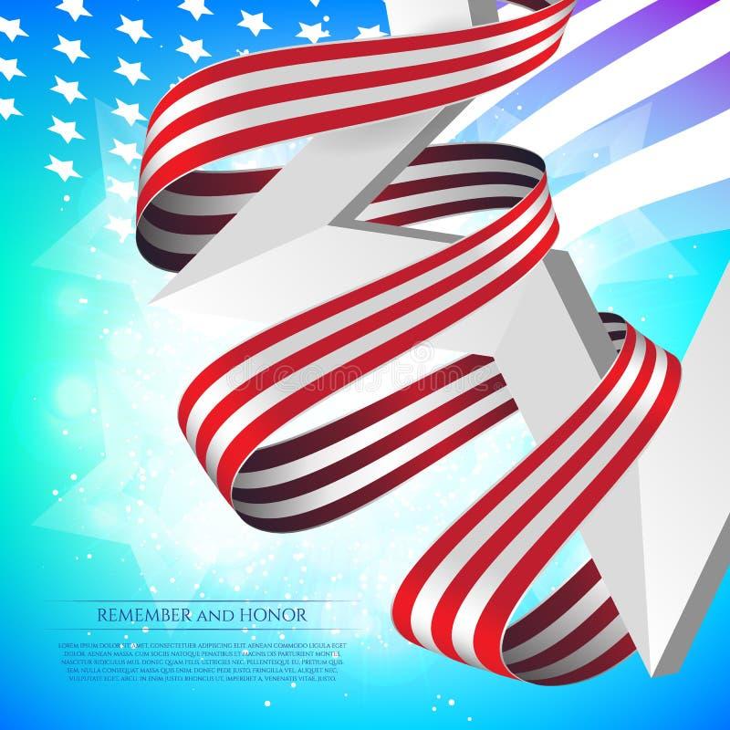 Szczęśliwy dnia pamięci kartka z pozdrowieniami z flaga państowowa barwi faborek i biel gwiazdę na kolorowym tle Pamięta I Honoru ilustracji