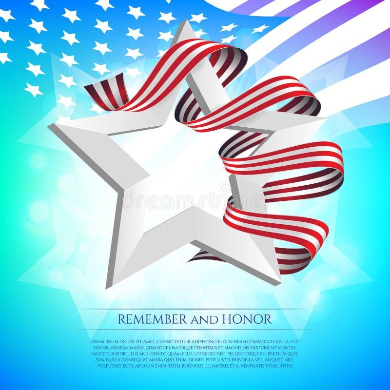 Szczęśliwy dnia pamięci kartka z pozdrowieniami z flaga państowowa barwi faborek i biel gwiazdę na kolorowym tle Pamięta I Honoru royalty ilustracja