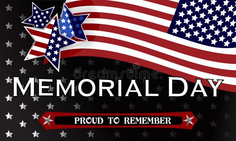 Szczęśliwy dnia pamięci tła szablon Gwiazdy i flaga amerykańska sztandar patriotyczny również zwrócić corel ilustracji wektora ilustracja wektor