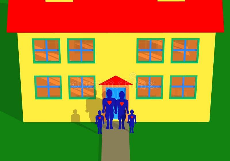 szczęśliwy dom rodzinny ilustracji