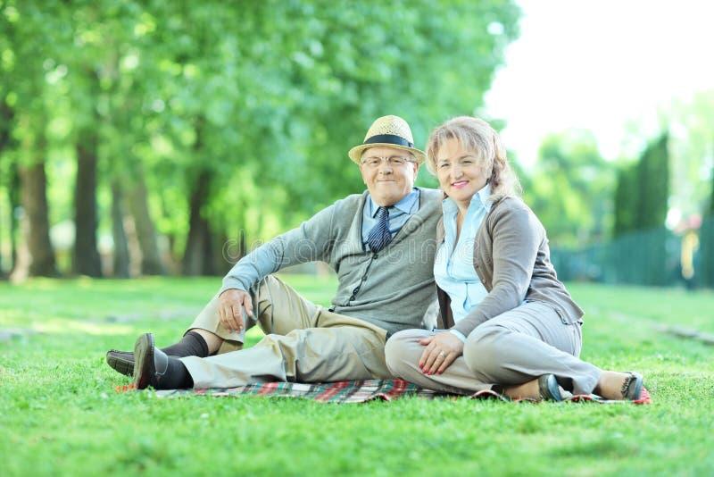Szczęśliwy dorośleć pary obsiadanie na koc w parku obrazy royalty free
