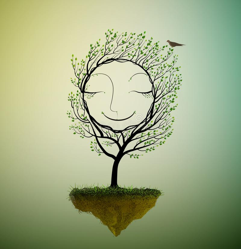 Szczęśliwy drzewny charakteru dorośnięcie na latającej skale, uśmiechu drzewo w sen z ptakiem, wiosny drzewa s sen, ilustracji