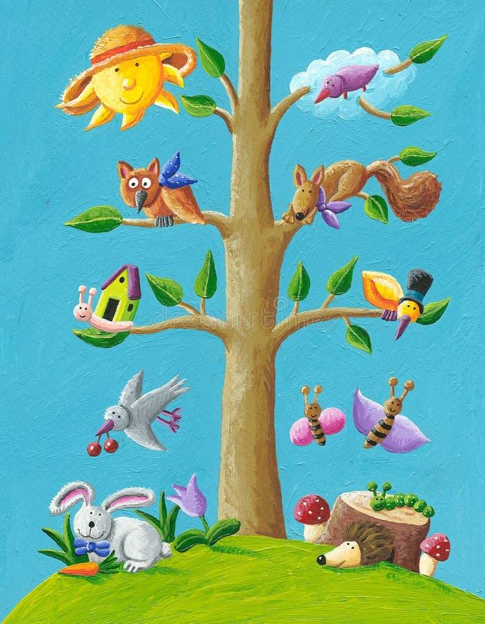 szczęśliwy drzewo royalty ilustracja