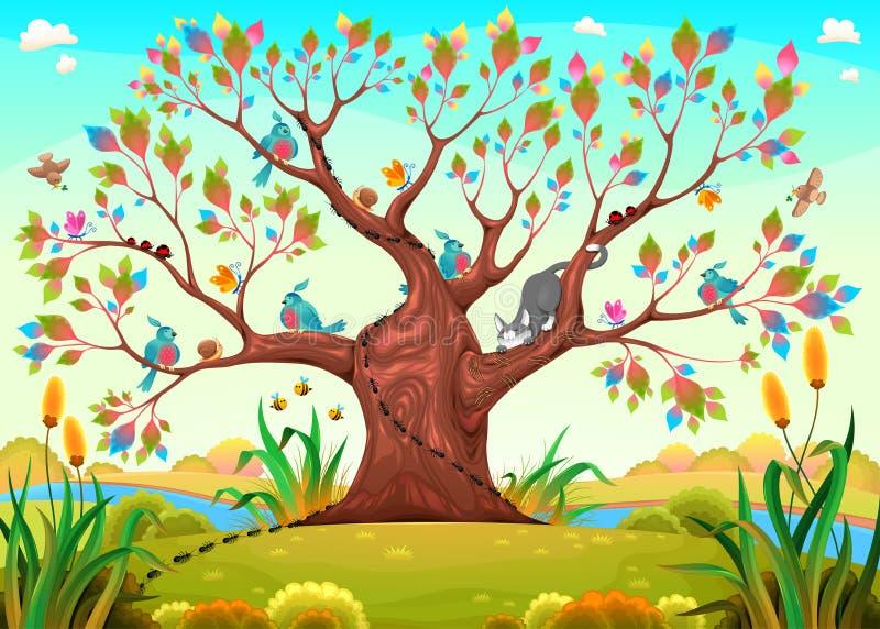 Szczęśliwy drzewo z ptakami, insektami i kotem, ilustracji