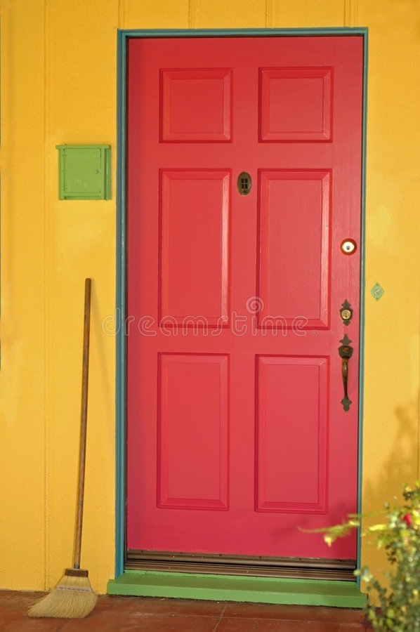 szczęśliwy drzwi fotografia stock