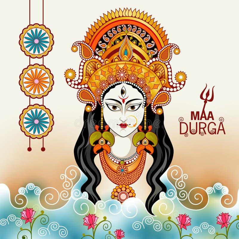 Szczęśliwy Durga Puja India festiwalu wakacje tło ilustracji