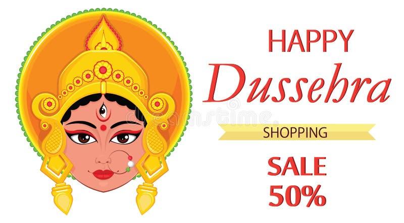 Szczęśliwy Dussehra kartka z pozdrowieniami Maa Durga Stawia czoło dla Hinduskiego festiwalu ilustracja wektor