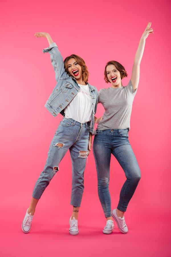 Szczęśliwy dwa dama przyjaciół stać odizolowywam obraz stock