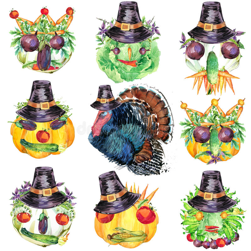Szczęśliwy dziękczynienia dzień tło Jarzynowego żniwa śmieszna twarz z dziękczynienie dnia kapeluszem dla dziękczynienia i indyki ilustracji