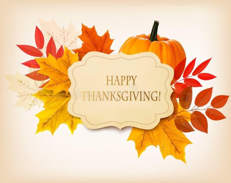 Szczęśliwy dziękczynienia tło z kolorowymi jesień liśćmi ilustracji