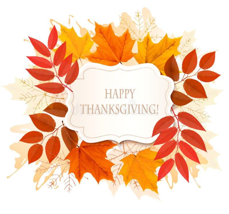 Szczęśliwy dziękczynienia tło z kolorowymi jesień liśćmi ilustracja wektor
