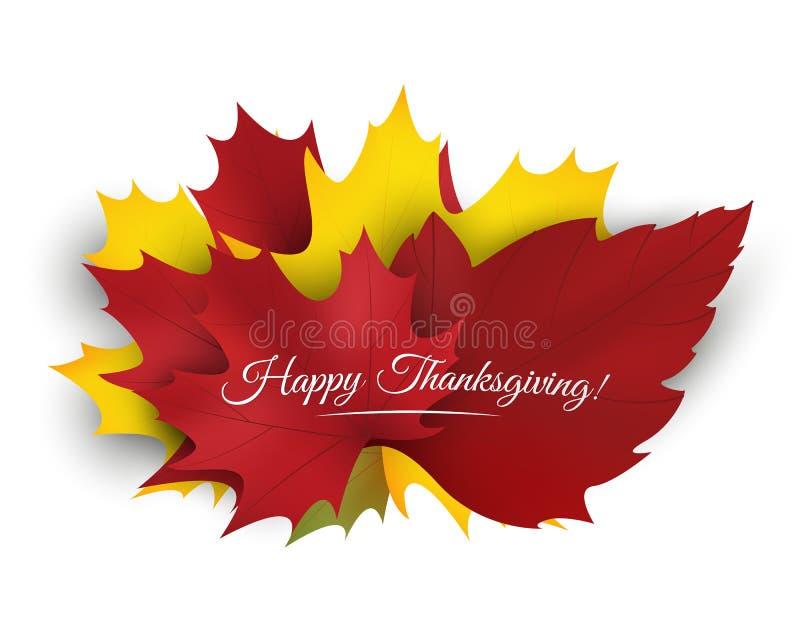 Szczęśliwy dziękczynienia tło z kolorowymi jesień liśćmi wektor royalty ilustracja