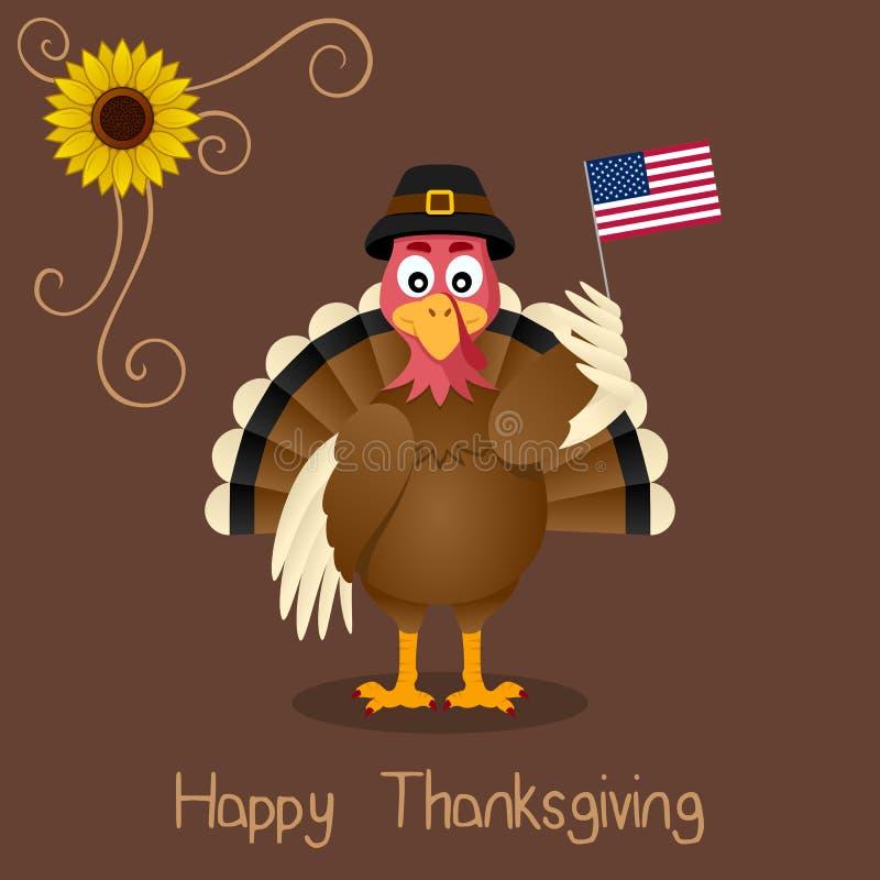 Szczęśliwy dziękczynienie - Śliczny Indyczy powitanie ilustracji