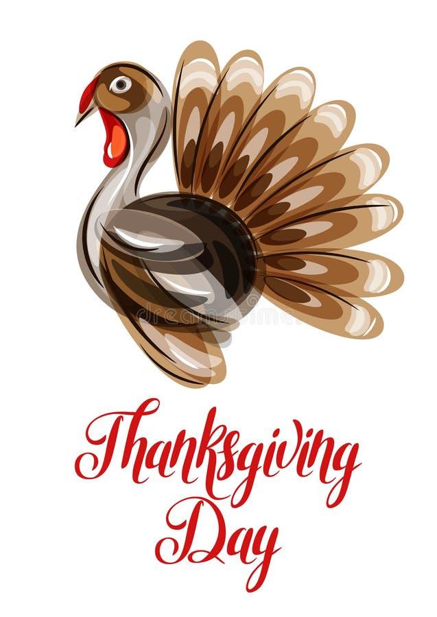 Szczęśliwy dziękczynienie dnia kartka z pozdrowieniami z abstrakcjonistycznym indykiem ilustracja wektor