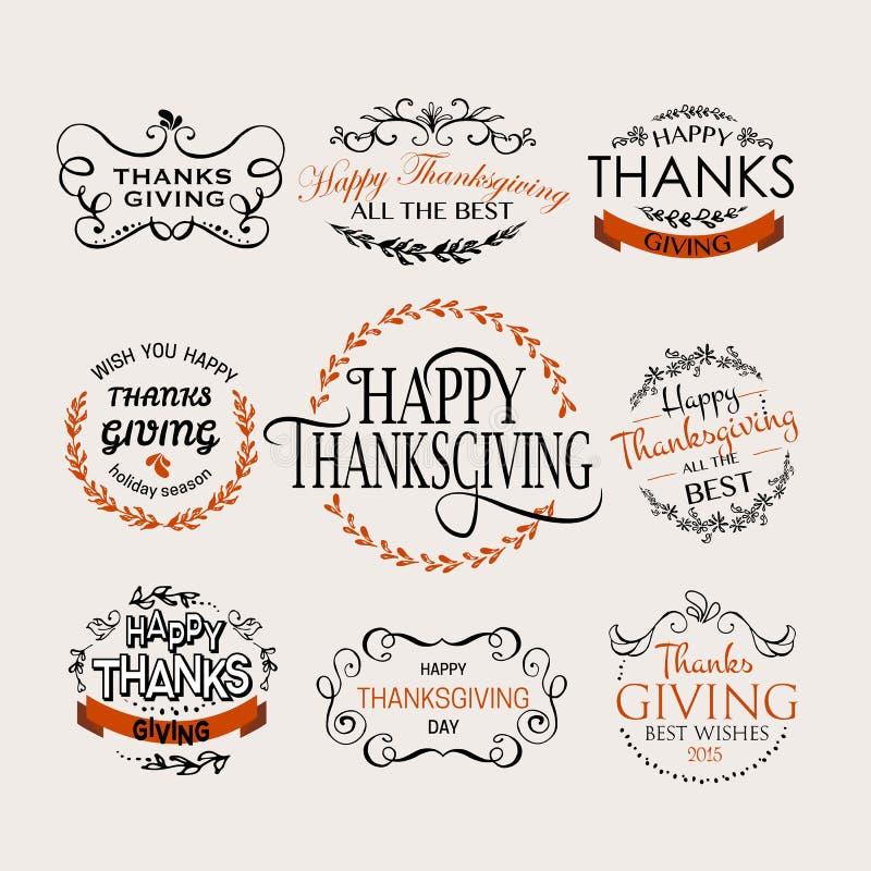 Szczęśliwy dziękczynienie dnia logotyp, odznaka i ikona set, ilustracja wektor