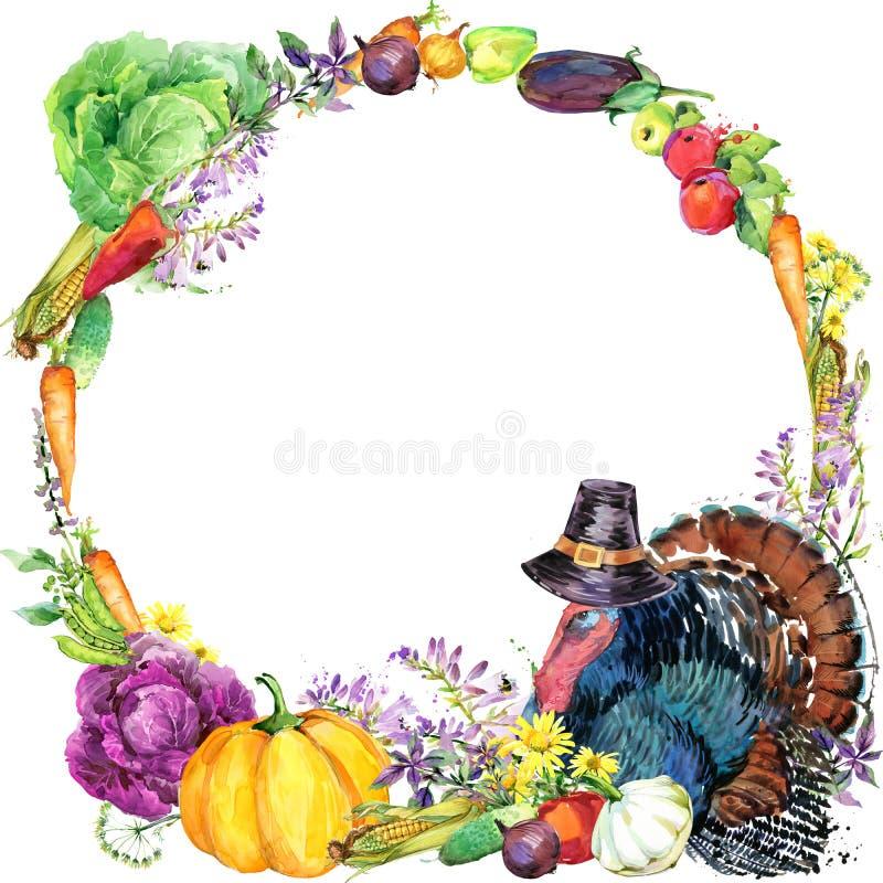 Szczęśliwy dziękczynienie dnia tło z indykiem, kapeluszem dla dziękczynienia, warzywami, owoc i kwiatami, watercotercolor ilustra ilustracji