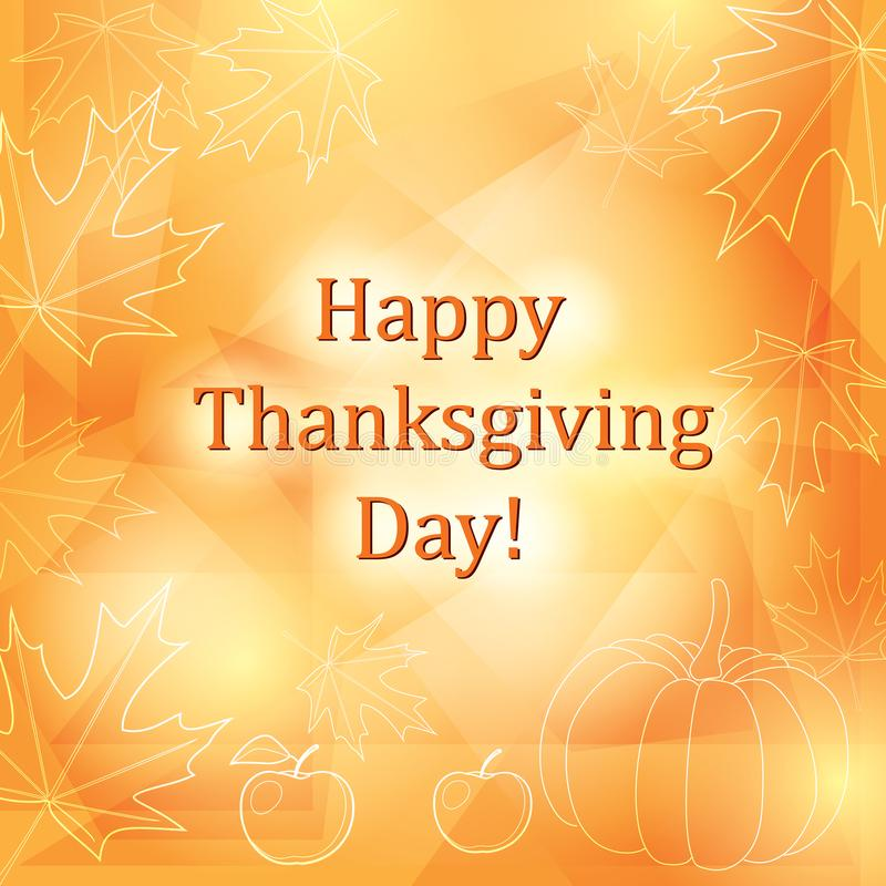 Szczęśliwy dziękczynienie dzień - pomarańczowy wektorowy tło z liśćmi royalty ilustracja