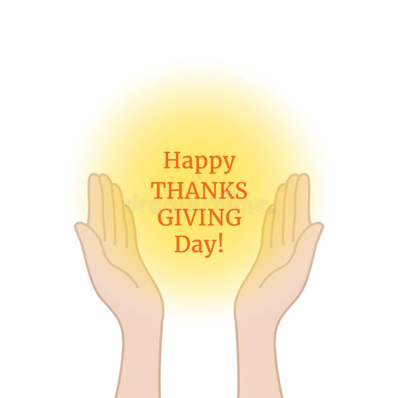 Szczęśliwy dziękczynienie dzień z modlitewnymi rękami royalty ilustracja