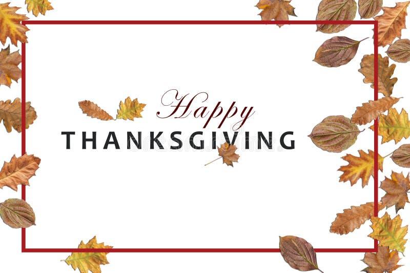 Szczęśliwy dziękczynienie na białym tle z jesieni ramą i liśćmi fotografia royalty free
