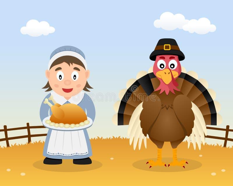 Szczęśliwy dziękczynienie Turcja & gospodyni domowa ilustracja wektor
