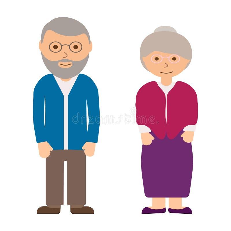 Szczęśliwy dziad i babcia na białym tle Starzy ludzie w rodzinie Dziadkowie w szkłach Starzejący się popielaty z włosami royalty ilustracja