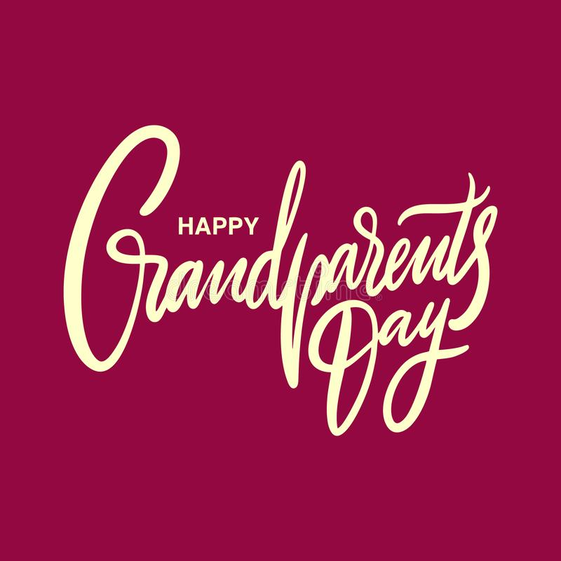 Szczęśliwy dziadka dnia wakacje R?ka rysuj?cy wektorowy literowanie Odizolowywaj?cy na czerwonym tle royalty ilustracja