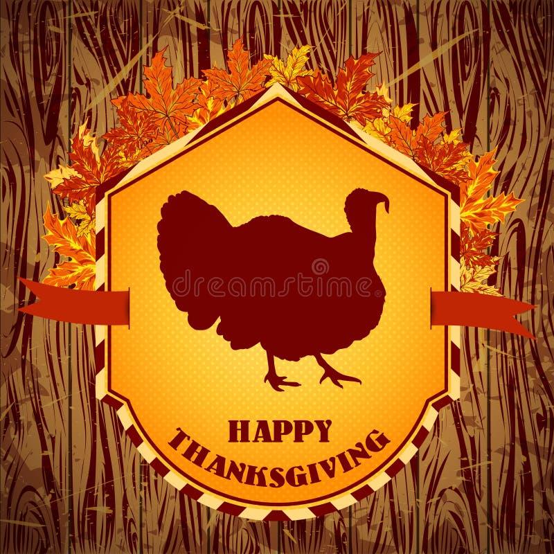 szczęśliwy dzień dziękczynienie Rocznik ręka rysująca wektorowa ilustracja z indykiem i jesień liśćmi na drewnianym tle ilustracji