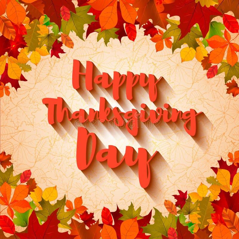 szczęśliwy dzień dziękczynienie Tekst z cieniem na lekkim tle royalty ilustracja